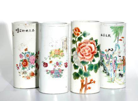 Chinese Four Chinese Famille Rose Hat Stands