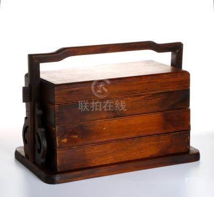 Chinese Huanghuali Three-Tiered Picnic Box