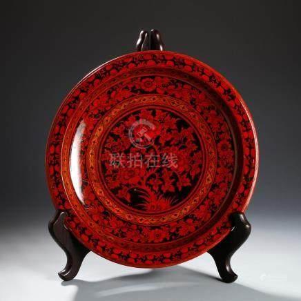 Chinese Cinnabar Dish