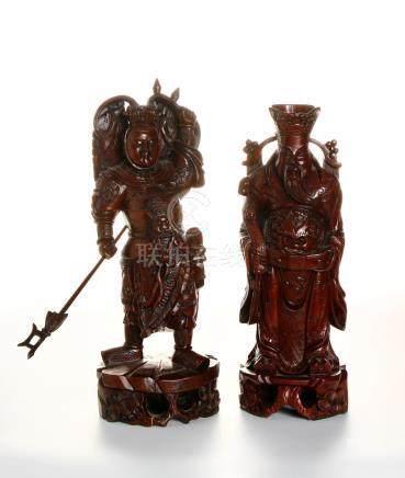 Chinese Two Hardwood Figures