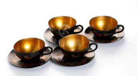 Chinese Black Lacquer Tea Set