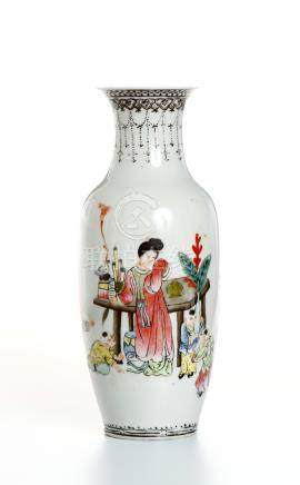 Chinese Famille Rose Rouleau Vase