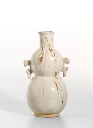 Chinese Glazed Flambe Double-Gourd Vase