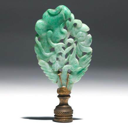 CHINESE CARVED GREEN JADE PHOENIX & LOTUS GROUP