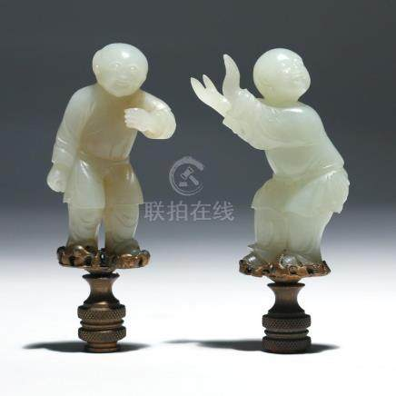 PAIR CHINESE WHITE JADE BOY CARVINGS