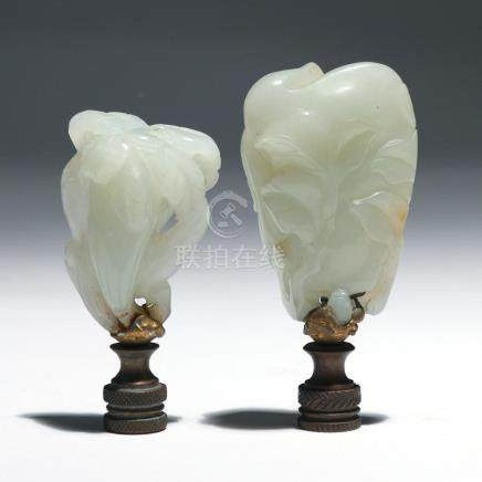 (2pc) CHINESE WHITE JADE VEGETABLE CARVINGS