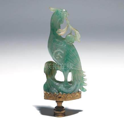 LARGE CHINESE GREEN JADE CARVING A PHOENIX