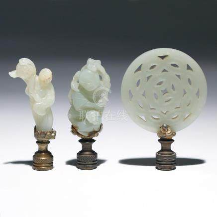 (3pc) CHINESE WHITE JADE CARVED FINIALS