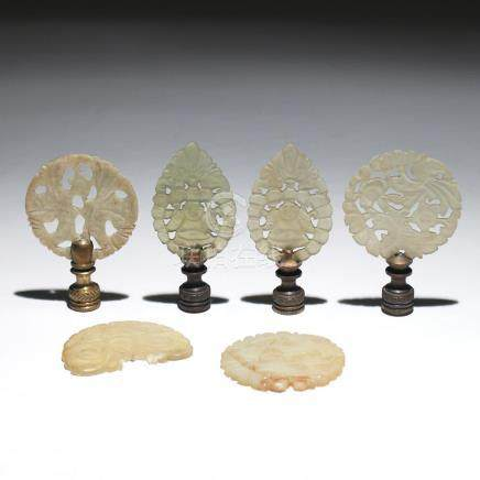 (6pc) MISC. CHINESE JADE AND/OR HARDSTONE FINIALS