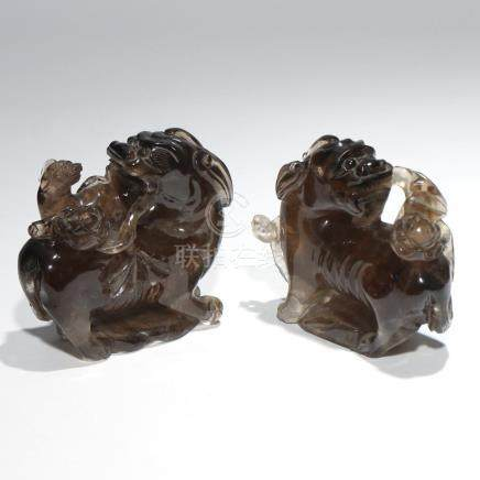 PAIR CHINESE SMOKY QUARTZ CARVED DOG GROUPS