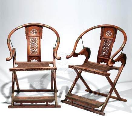 PAIR CHINESE HUANGHUALI FOLDING ARMCHAIRS