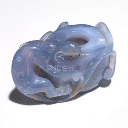 CHINESE BLUE AGATE CARVED WATER COUPE