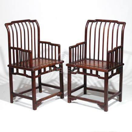 PAIR CHINESE SPINDLE-BACK ARMCHAIRS, MEIGUIYI