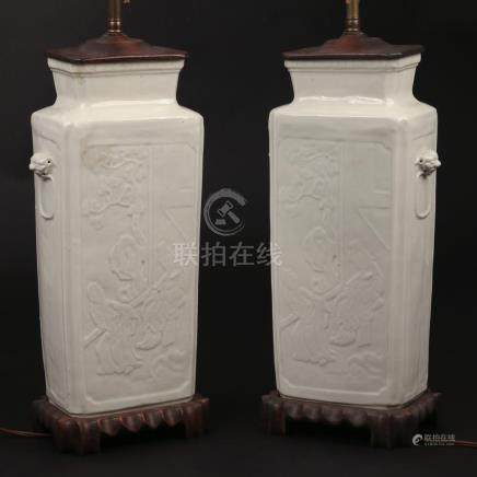 PAIR CHINESE BLANC-DE-CHINE PORCELAIN LAMPS