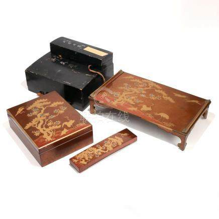 (3pc) JAPANESE 'PEAR SKIN' LACQUER SCHOLAR'S ITEMS
