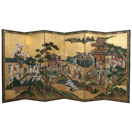 FINE JAPANESE SIX-PANEL PAINTED FLOOR SCREEN