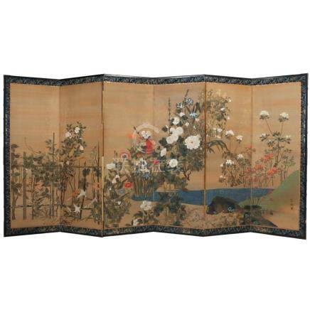 JAPANESE SIX-PANEL FLORAL PAINTED FLOOR SCREEN