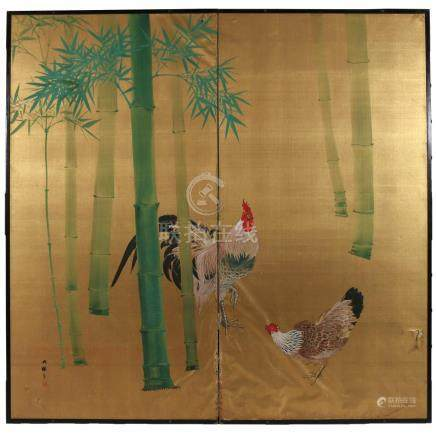 JAPANESE TWO-PANEL PAINTED FLOOR SCREEN