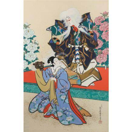 LARGE JAPANESE PAINTING OF ACTORS