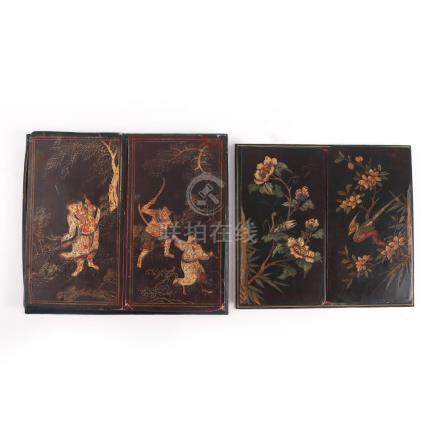 (2pc) FRENCH LEATHER & CHINESE LACQUER BLOTTERS