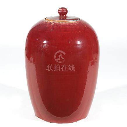 CHINESE OXBLOOD RED GLAZED JAR & COVER