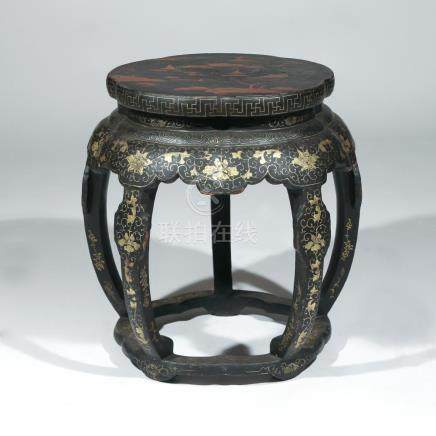 CHINESE EXPORT LACQUERED DRUM STOOL