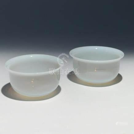 PAIR CHINESE PEKING GLASS BOWLS