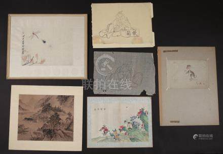 (6pc) JAPANESE & CHINESE PAINTINGS