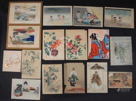 (16pc) JAPANESE WOODBLOCK PRINTS, 20TH CENTURY