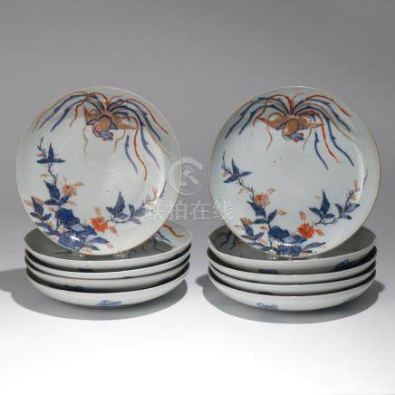 (10pc) CHINESE IMARI PALETTE PORCELAIN DISHES