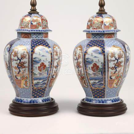 PAIR IMARI PORCELAIN TABLE LAMPS