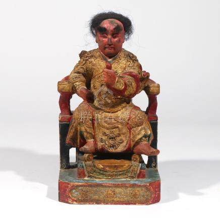 CHINESE GILT CARVED WOOD FIGURE