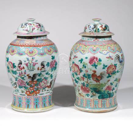 NEAR PAIR CHINESE PORCELAIN COVERED JARS