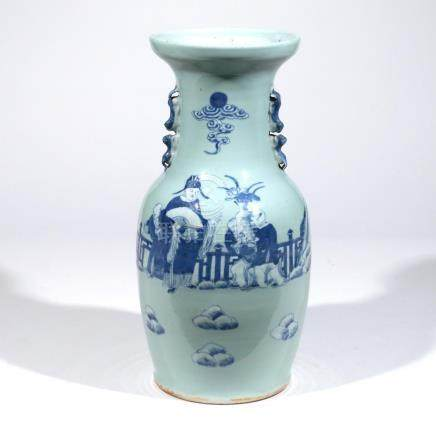 CHINESE CELADON-GROUND PORCELAIN VASE