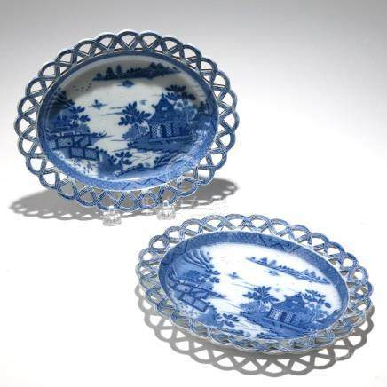 PAIR CHINESE BLUE & WHITE RETICULATED OVAL PLATES