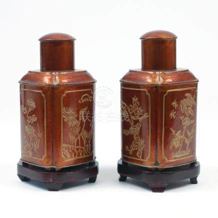 PAIR CHINESE LACQUERED PEWTER TEA CADDIES