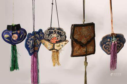 Five Silk Embroidered Prayer Bead Pouches