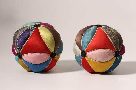 Pair Of Silk Embroidered Balls