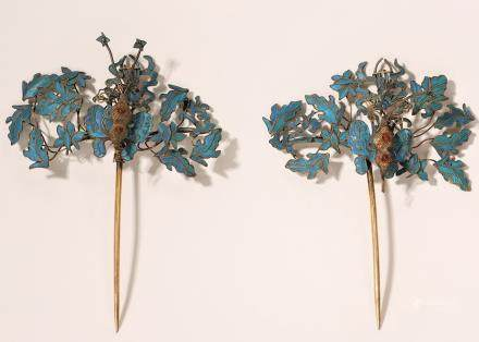 Pair Of Kingfisher And Silver Hair Pins
