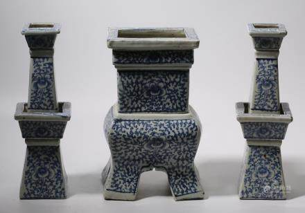 Set Of Three Blue And White Porcelain Incense Burners