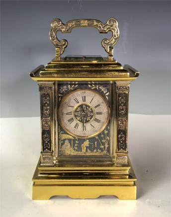Achille Brocot French Gilt and Silvered Carriage Clock
