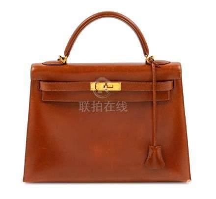 Hermes Brown Sellier 32cm Kelly Handbag, 2001