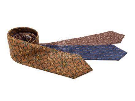 Three Hermes Silk Ties