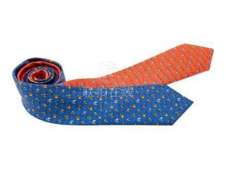 Pair of Hermes Silk Ties