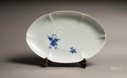 A XIAOFANG KILN BLUE AND WHITE 'BOY AND FISH' DISH