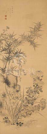 ZHU DONG SHAN REN, PLUM BLOSSOM, ORCHID, BAMBOO AND