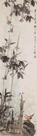 TANG YUN(1910~1993), BAMBOO AND MAGPIE PAINTING