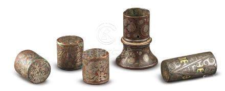 FIVE PIECES OF GILT AND SILVER-INLAID BRONZE CARRIGE