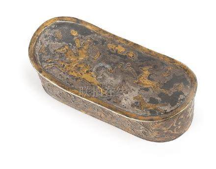A SILVER WRIST REST WITH HUNTING PATTERN