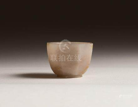 A WHITE JADE OCTAGONAL CUP